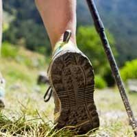 botas y zapatilla para la practica de deportes en montaña en el campo